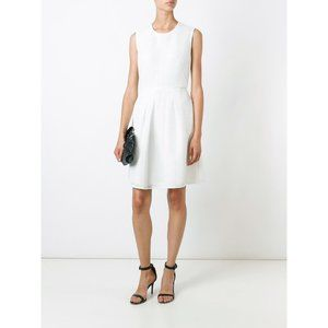 Burberry White Sculpted Mesh Fit and Flare Dress 6